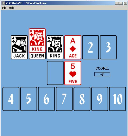 Lucky 13 Card Solitaire 1.01
