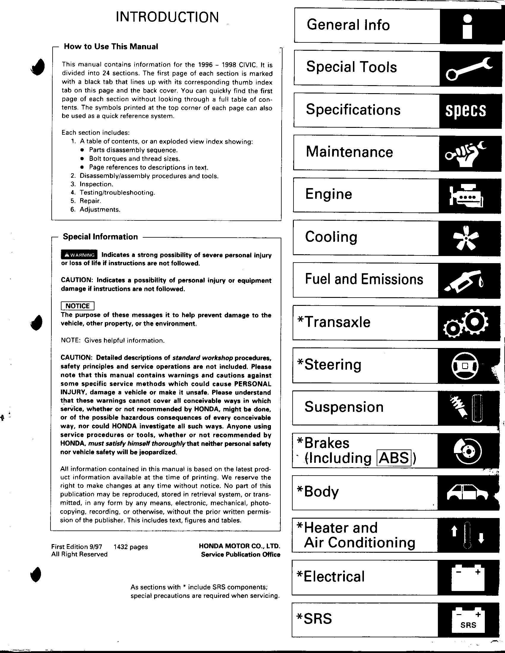 Honda Civic (96 98) Service Manual.pdf - Honda Civic - samochody i ...